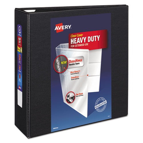 "Heavy-duty View Binder With Durahinge And Locking One Touch Ezd Rings, 3 Rings, 4"" Capacity, 11 X 8.5, Black"