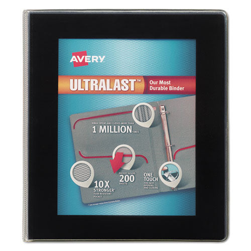 "Ultralast Heavy-duty View Binder With One Touch Slant Rings, 3 Rings, 1"" Capacity, 11 X 8.5, Black"