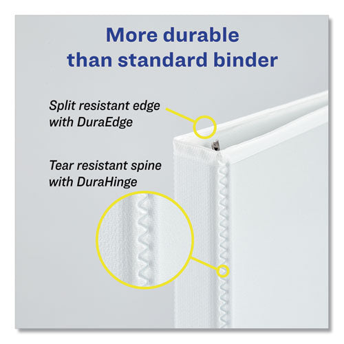 "Heavy-duty View Binder With Durahinge And One Touch Slant Rings, 3 Rings, 0.5"" Capacity, 11 X 8.5, White"