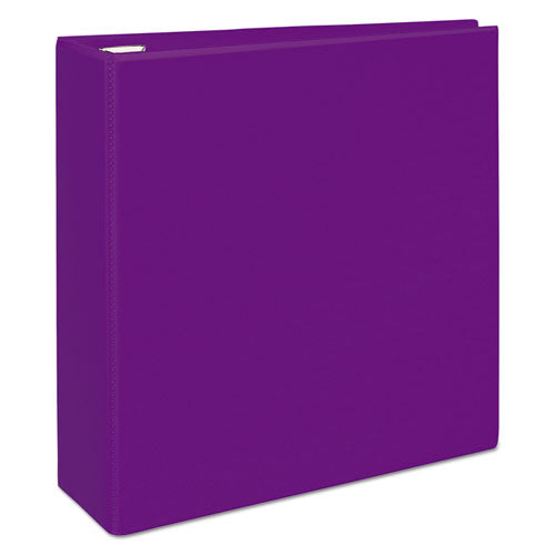 "Heavy-duty View Binder With Durahinge And Locking One Touch Ezd Rings, 3 Rings, 4"" Capacity, 11 X 8.5, Purple"