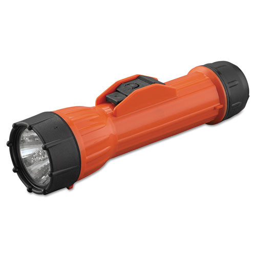 Worksafe Waterproof Flashlight, 2 D Batteries, Orange-black