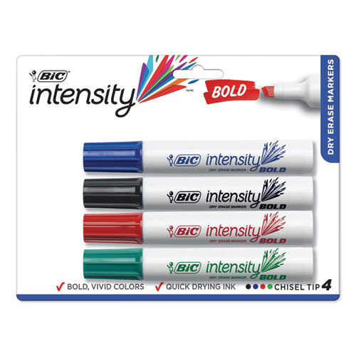 Intensity Bold Tank-style Dry Erase Marker, Broad Chisel, Assorted Colors, 4-set