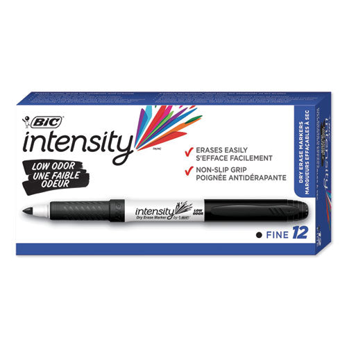 Intensity Low Odor Dry Erase Marker, Fine Bullet Tip, Black, Dozen