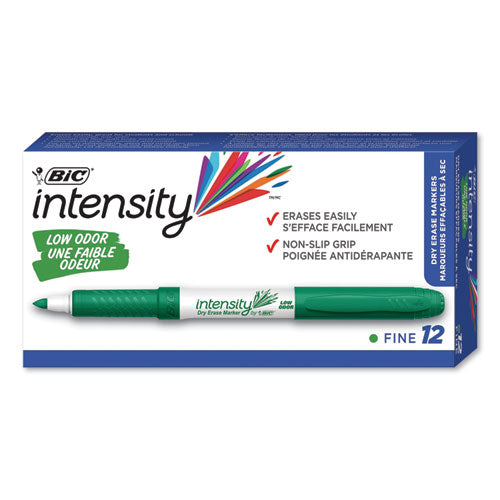 Intensity Low Odor Dry Erase Marker, Fine Bullet Tip, Green, Dozen