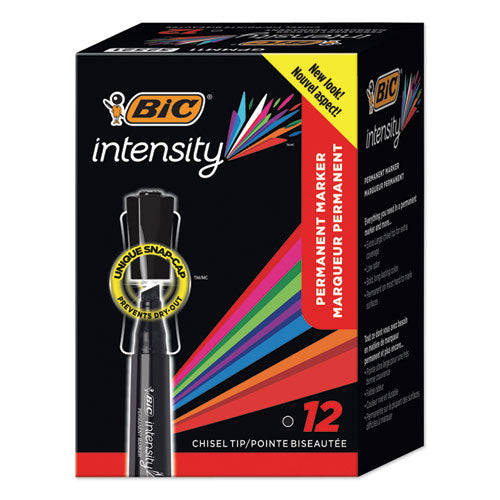 Intensity Chisel Tip Permanent Marker, Broad, Black, 36-pack