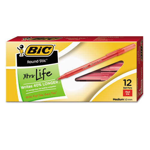 Round Stic Xtra Life Stick Ballpoint Pen, 1 Mm, Red Ink, Translucent Red Barrel, Dozen