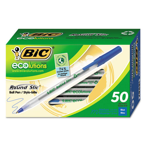 Ecolutions Round Stic Stick Ballpoint Pen, 1mm, Blue Ink, Clear Barrel, 50-pack