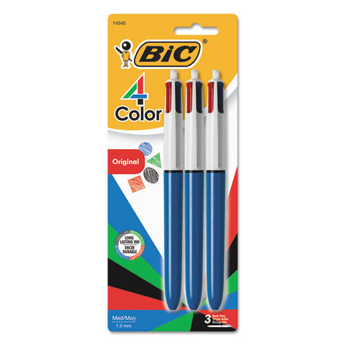 4-color Retractable Ballpoint Pen, 1 Mm, Black-blue-green-red Ink, Blue Barrel, 3-pack