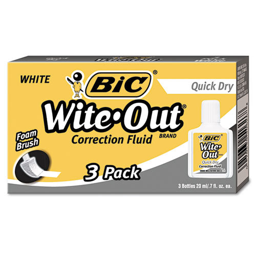Wite-out Quick Dry Correction Fluid, 20 Ml Bottle, White, 3-pack