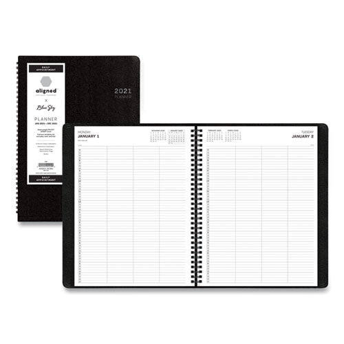 Aligned Daily Four-person Appointment Planner, 11 X 8, Black, 2021
