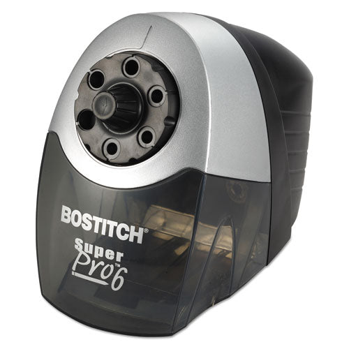 "Super Pro 6 Commercial Electric Pencil Sharpener, Ac-powered, 6.13"" X 10.69"" X 9"", Gray-black"