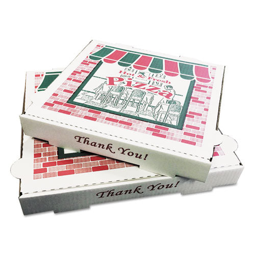"Corrugated Kraft Pizza Boxes, B-flute, White, 10"" Pizza, 10w X 10d X 1.75h, 50-carton"