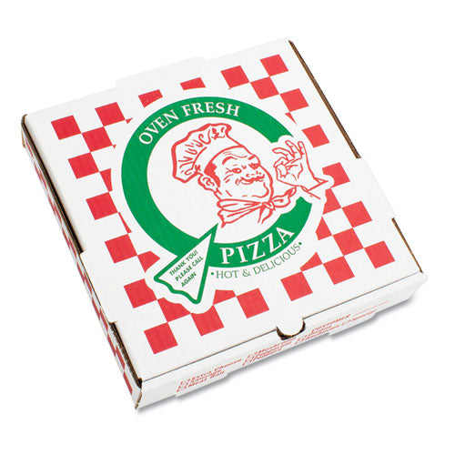 "Corrugated Kraft Pizza Boxes, B-flute, White, 14"" Pizza, 14w X 14d X 2 .5h, 50-bundle"
