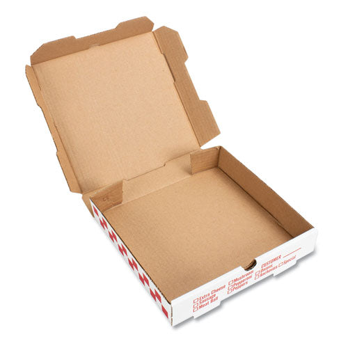 "Corrugated Kraft Pizza Boxes, E-flute, White, 10"" Pizza, 10w X 10d X 1.75h, 50-bundle"