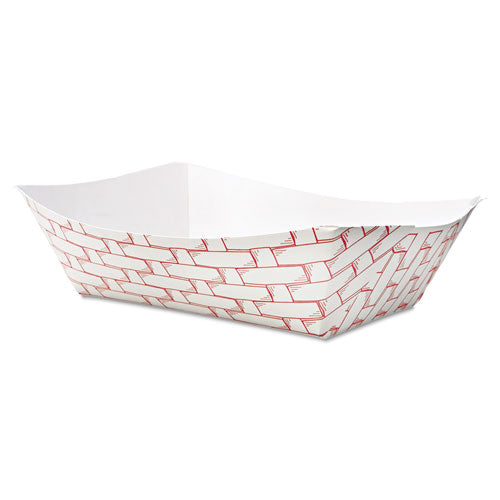 Paper Food Baskets, 3lb Capacity, Red-white, 500-carton