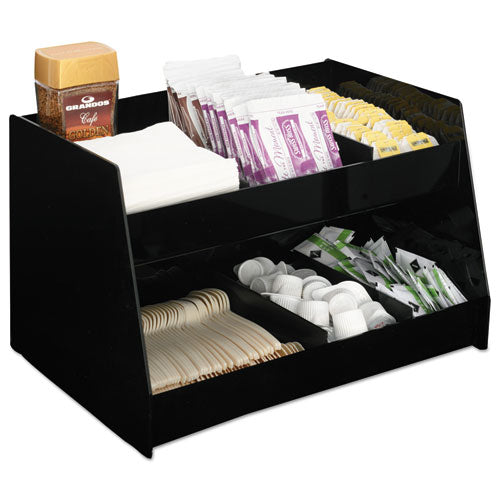 Condiment Organizer, 14 1-3 X 10 1-2 X 9 2-3, 6-compartment, Black