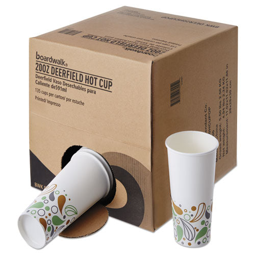 Convenience Pack Paper Hot Cups, 20 Oz, Deerfield Print, 9 Cups-sleeve, 15 Sleeves-carton