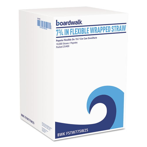 "Flexible Wrapped Straws, 7 3-4"", White, 500-pack"