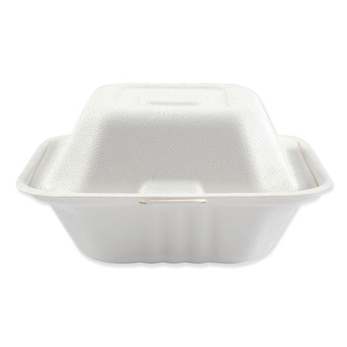 Bagasse Molded Fiber Food Containers, Hinged-lid, 3-compartment 9 X 9, White, 100-sleeve, 2 Sleeves-carton