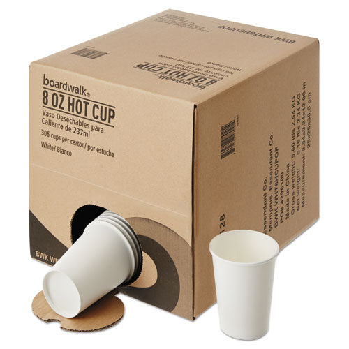 Convenience Pack Paper Hot Cups, 8 Oz, White, 9 Cups-sleeve, 34 Sleeves-carton