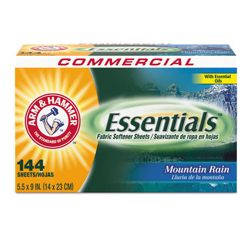 Essentials Dryer Sheets, Mountain Rain, 144 Sheets-box, 6 Boxes-carton
