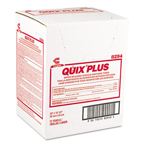 Quix Plus Cleaning And Sanitizing Towels, 13 1-2 X 20, Pink, 72-carton