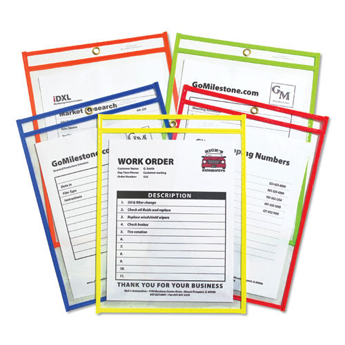 "Stitched Shop Ticket Holders, Neon, Assorted 5 Colors, 75"", 9 X 12, 25-bx"