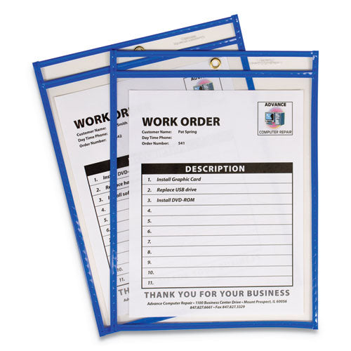"Stitched Shop Ticket Holders, Top Load, Super Heavy, Clear, 9"" X 12"" Inserts, 15-box"