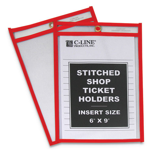 "Stitched Shop Ticket Holders, Top Load, Super Heavy, Clear, 6"" X 9"" Inserts, 25-box"