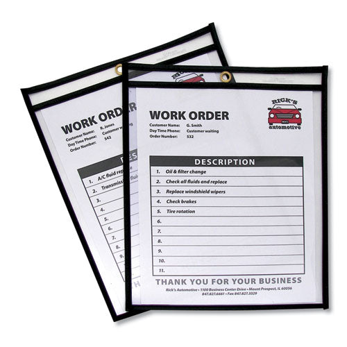 Shop Ticket Holders, Stitched, Both Sides Clear, 50 Sheets, 8 1-2 X 11, 25-box