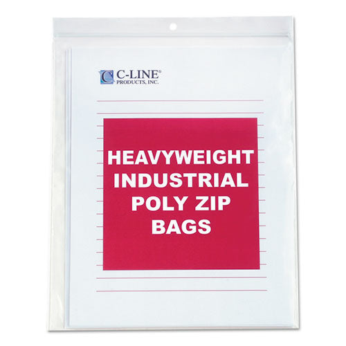Heavyweight Industrial Poly Zip Bags, 8 1-2 X 11, 50-bx