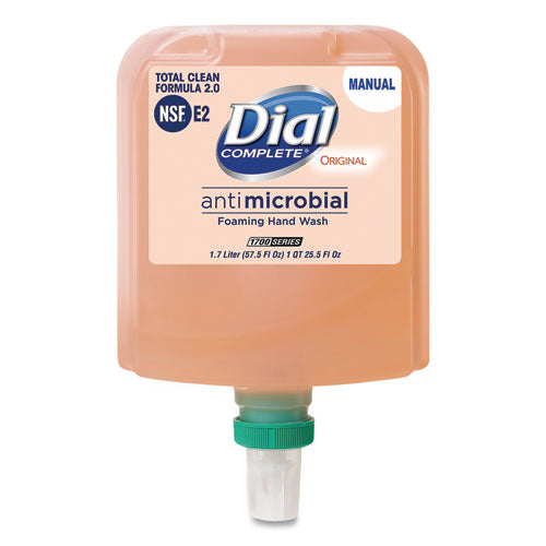 Dial 1700 Manual Refill Antimicrobial Foaming Hand Wash, Original, 1.7 L Bottle, 3-carton