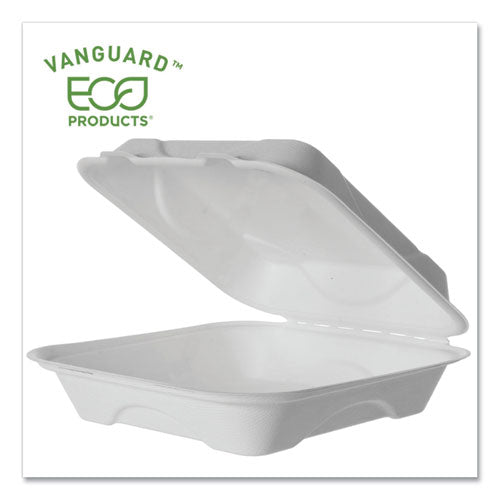 Vanguard Renewable And Compostable Sugarcane Clamshells, 1-compartment, 9 X 9 X 3, White, 200-carton