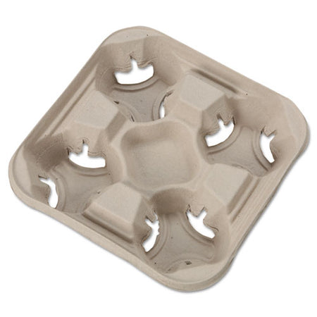 Strongholder Molded Fiber Cup Trays, 8-32 Oz, Four Cups, Beige, 300-carton