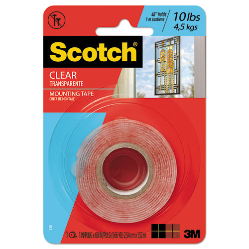 "Double-sided Mounting Tape, Industrial Strength, 1"" X 60"", Clear-red Liner"