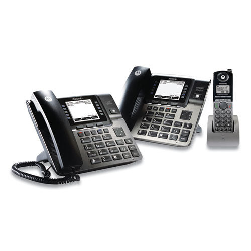 Unison 1-4 Line Wireless Phone System Bundle, With 1 Deskphone, 1 Cordless Handset