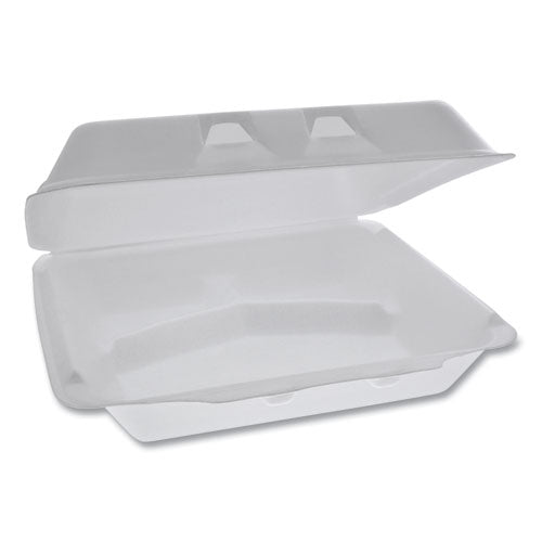 Smartlock Foam Hinged Containers, X-large, 9.5 X 10.5 X 3.25, 3-compartment, White, 250-carton