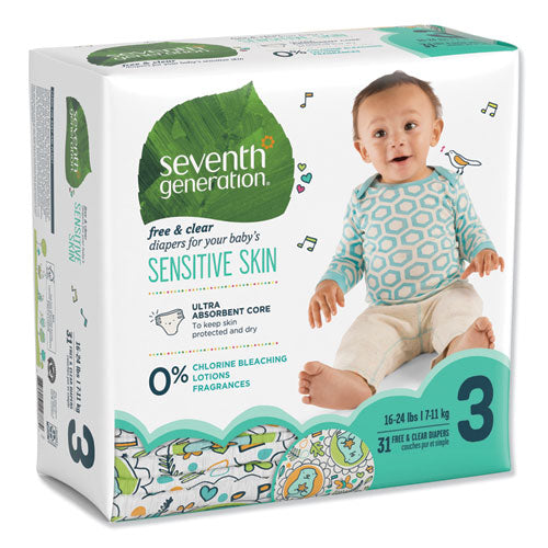 Free And Clear Baby Diapers, Size 3, 16 Lbs To 24 Lbs, 31-pack