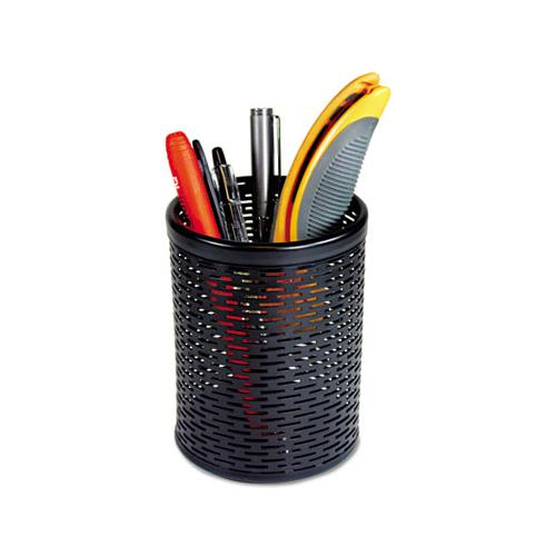 Urban Collection Punched Metal Pencil Cup, 3 1-2 X 4 1-2, Black
