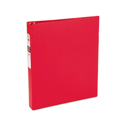 "Economy Non-view Binder With Round Rings, 3 Rings, 1"" Capacity, 11 X 8.5, Red, (3310)"