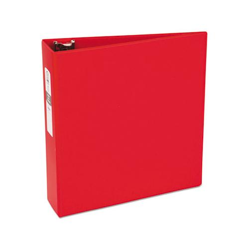 "Economy Non-view Binder With Round Rings, 3 Rings, 3"" Capacity, 11 X 8.5, Red, (3608)"