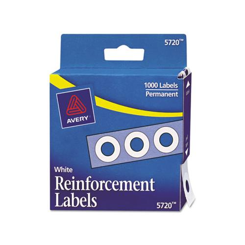"Dispenser Pack Hole Reinforcements, 1-4"" Dia, White, 1000-pack, (5720)"