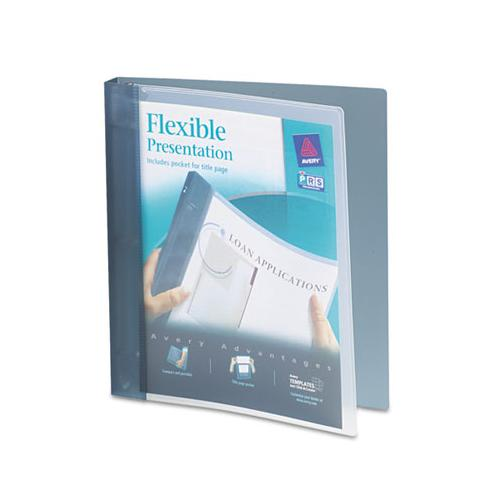 "Flexible View Binder With Round Rings, 3 Rings, 1"" Capacity, 11 X 8.5, Gray"