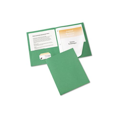 "Two-pocket Folder, Prong Fastener, Letter, 1-2"" Capacity, Green, 25-box"