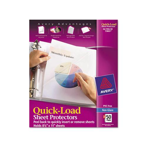 Quick Top & Side Loading Sheet Protectors, Letter, Non-glare, 50-box