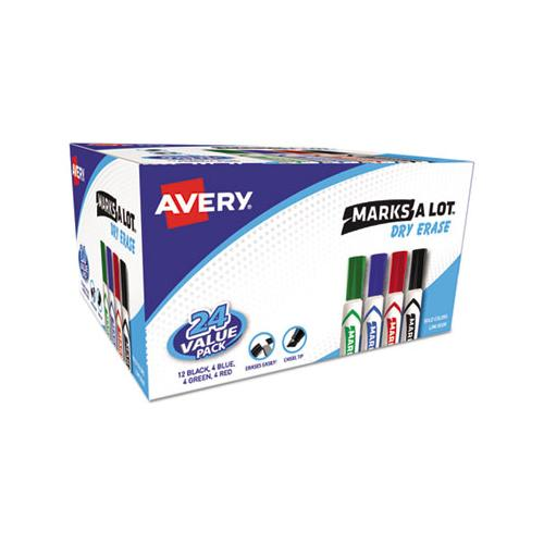 Marks A Lot Desk-style Dry Erase Marker Value Pack, Broad Chisel Tip, Assorted Colors, 24-pack