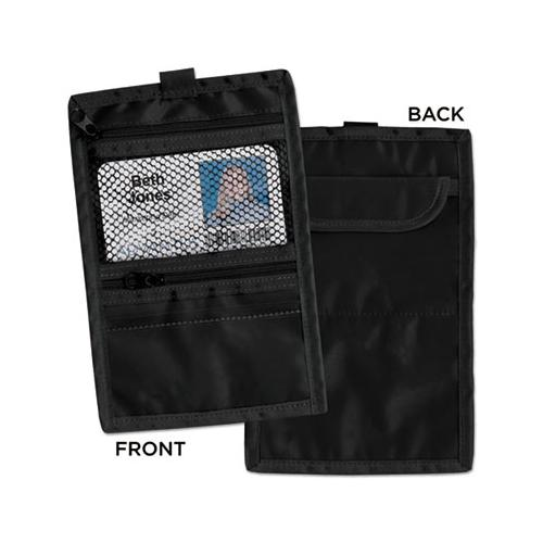 Travel Id-document Holder, Hold 4 1-4 X 2 1-4 Cards, Black Nylon, 5-pack