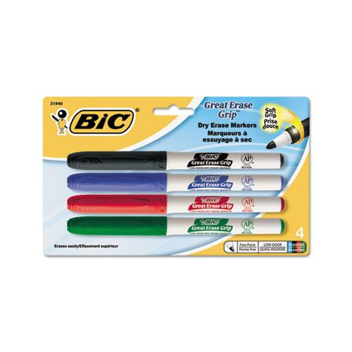 Intensity Low Odor Dry Erase Marker, Fine Bullet Tip, Assorted Colors, 4-set