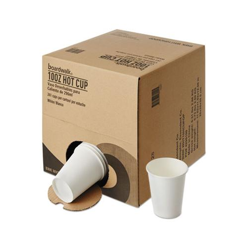 Convenience Pack Paper Hot Cups, 10 Oz, White, 9 Cups-sleeve, 29 Sleeves-carton