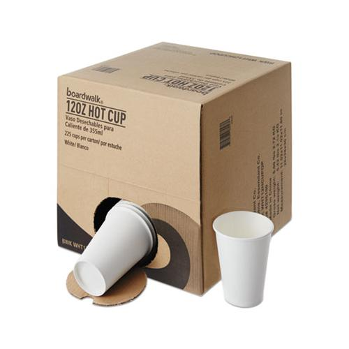 Convenience Pack Paper Hot Cups, 12 Oz, White, 9 Cups-sleeve, 25 Sleeves-carton